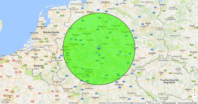 Auf dieser Deutschlandkarte seht hier im grünen Bereich, wo ich überall hin fahre ...